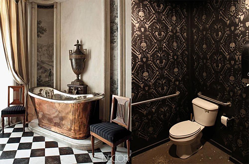 Beaucoup de cuivre et surtout de laiton, dans la deco salle de bain 2018, donnent un effet spécial de chaleur légère fantaisie